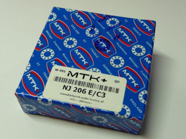 Zylinderrollenlager NJ206E/C3 - MTK   - Stahlkäfig, Lagerluft C3  ( 30x62x16mm )