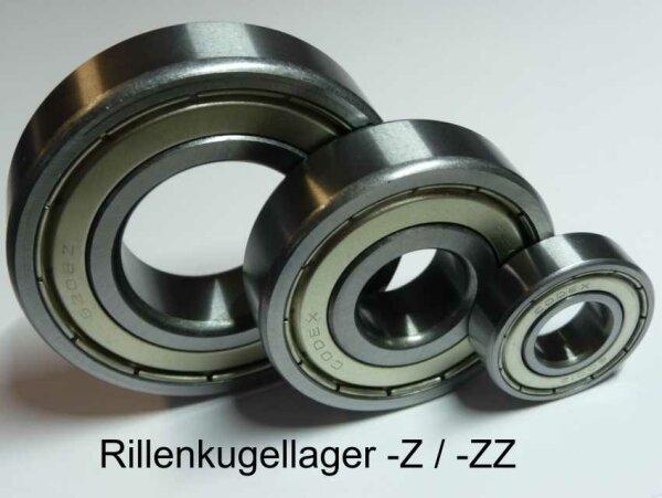 Rillenkugellager 609-ZZ  - beidseitig Stahldeckscheiben  ( 9x24x7mm )