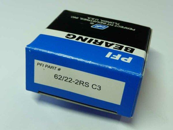 Rillenkugellager 62/22-2RS/C3 - PFI  - beidseitig Dichtscheiben, Lagerluft C3  ( 22x50x14mm )