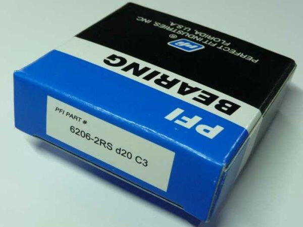 Rillenkugellager 6206-2RS/C3 d=20mm - PFI - beidseitig Dichtscheiben, Lagerluft C3 ( 20x62x16mm )