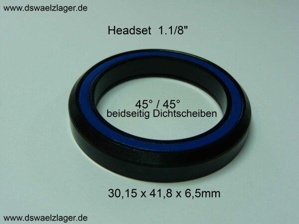 "Rillenkugellager 1.1/8"" ... 45°/45° ... 30,15x41,8x6,5mm MH-P08(ACB418)"