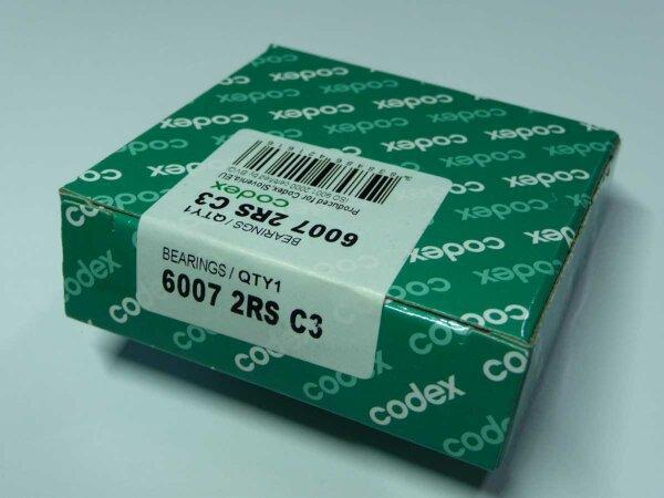 Rillenkugellager 6007-2RS/C3 - Codex - beidseitig Dichtscheiben, Lagerluft C3 ( 35x62x14mm )