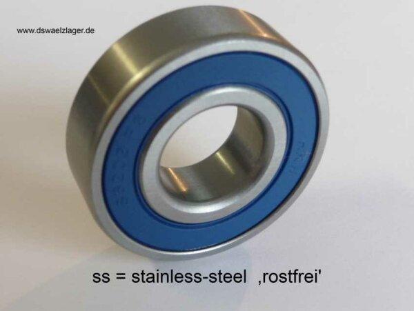 Rillenkugellager SS-61800-2RS - Nirostahl - beidseitig Dichtscheiben ( 10x19x5mm )