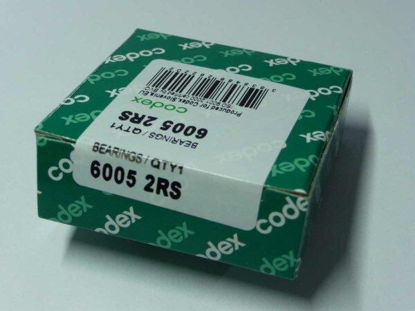 Rillenkugellager 6005-2RS - Codex - beidseitig Dichtscheiben ( 25x47x12mm )
