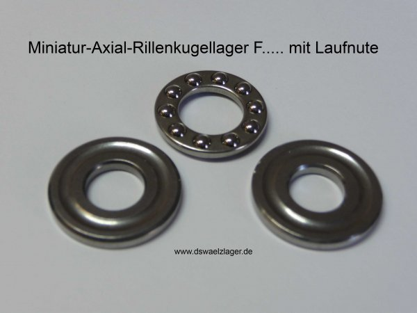 Miniatur-Axial-Rillenkugellager F6-14G  - mit Laufnute  ( 6x14x5mm )