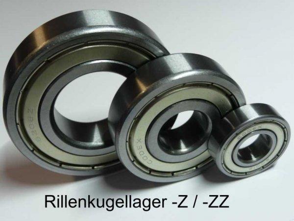 Rillenkugellager 16100-ZZ   - beidseitig Stahldeckscheiben  ( 10x28x8mm )