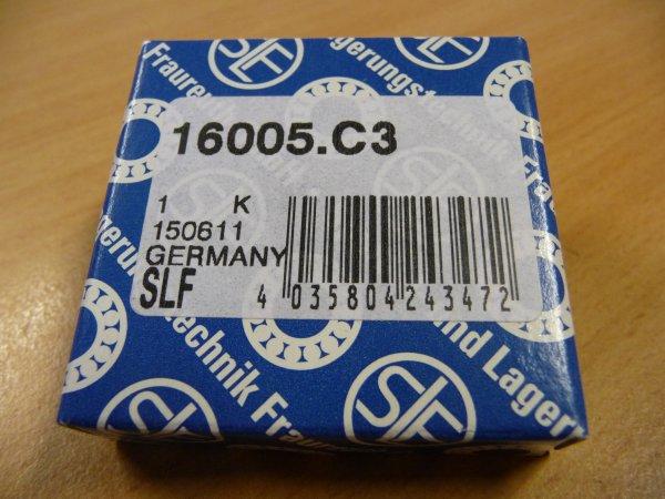 Rillenkugellager 16005/C3 - SLF   - offene Ausführung, Lagerluft C3  ( 25x47x8mm )