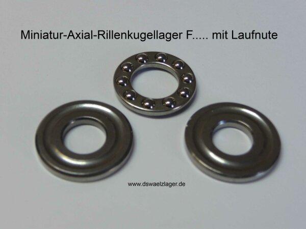 Miniatur-Axial-Rillenkugellager F7-15G  - mit Laufnute  ( 7x15x5mm )